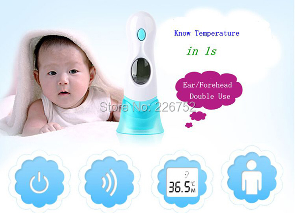 4 In 1 Multi-function Digital LCD Adult Baby Forehead Ear Ambient Clock IR Infrared Thermometer Temperature with Battery(China (Mainland))