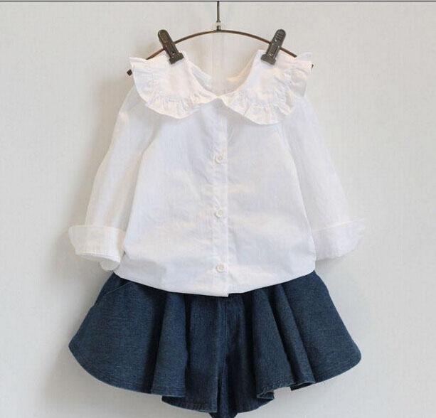 2016 New Fashion Long Sleeve Peter Pan Collar  Children White Shirt  Girls Kids White Blouse Girl Bottoming Shirt Tops