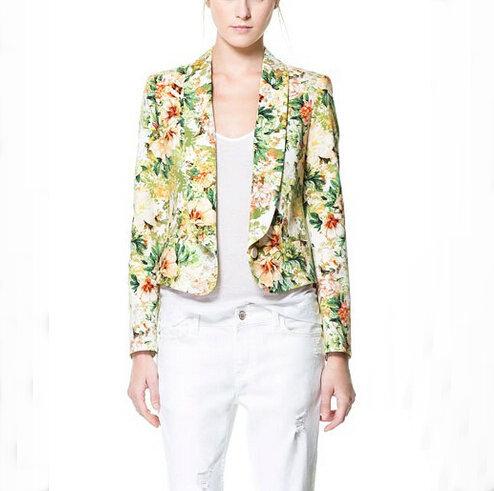 CT761 Новая Мода Женская Элегантный Цветочный Принт короткие OL Blazer пальто одной ...
