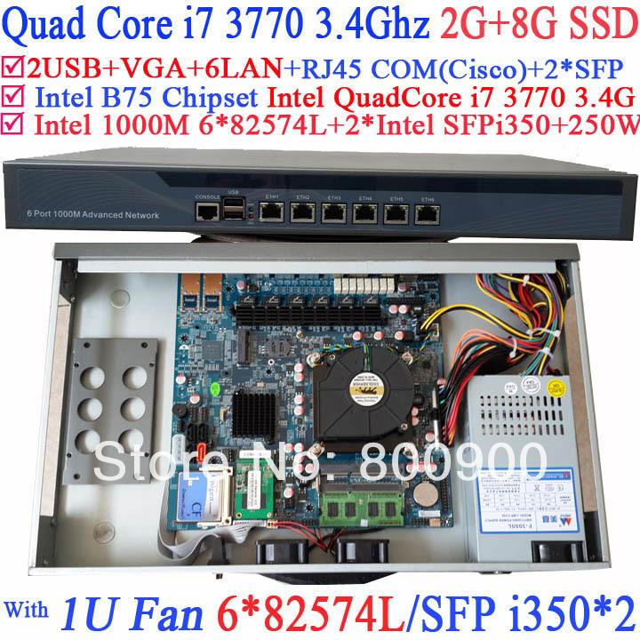 Best quality network server Firewall quad core i7 3770 with 8 Ports 6*1000M 82574L Gigabit Nics 2* intel i350 SFP 2G RAM 8G SSD(China (Mainland))