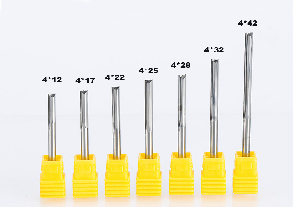 HUHAO 1pc 4mm  Two Flutes Straight router bits for wood  CNC Straight Engraving Cutters Carbide Endmills Cutting Milling Tools