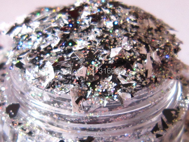 Solvent Resistant Glitter Mix for gel nail polish black and white flake glitter silver fine glitter for nail polish making G369(China (Mainland))