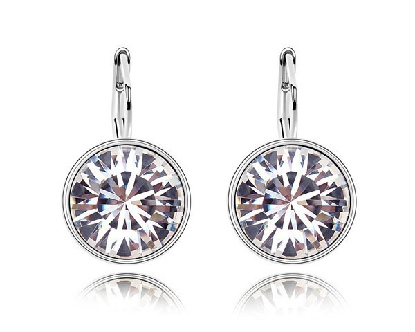Austria Crystal Made With Swarovski Elements Round Shaped Stone Stud Earrings Simple Design Bulk Jewelry Lover Earrings EEH0038