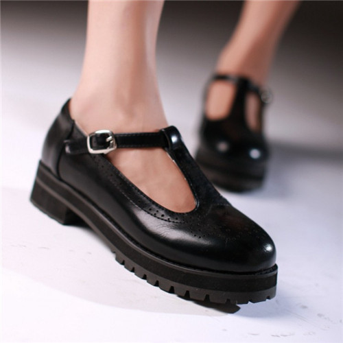 Vintage Retro Women Round Toe T-Strap Low Heel Pumps Creepers Casual Mary Janes Shoes Plus Size US4.5-10.5