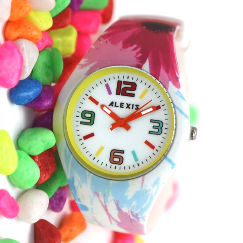 Wholesale 8Pcs/lots New PNP Shiny Silver Watchcase Silicone Colourful Band Men Women Fashion Watch FW922(China (Mainland))