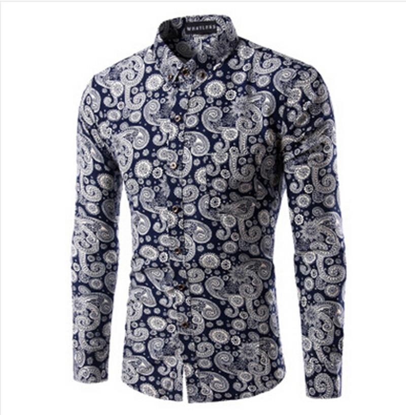 2016 New Brand Print Men Shirt Long-sleeve Shirt Slim Fit Casual Shirts Fashion Men's Clothing Casual Camisa Masculina Plus Size(China (Mainland))