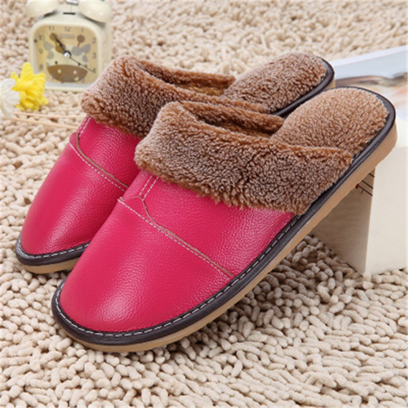 Genuine Cow Leather Waterproof Warm Home Indoor Slippers High Quality Autumn Winter Men Women Shoes Floor Lover Slipper Pantufas(China (Mainland))