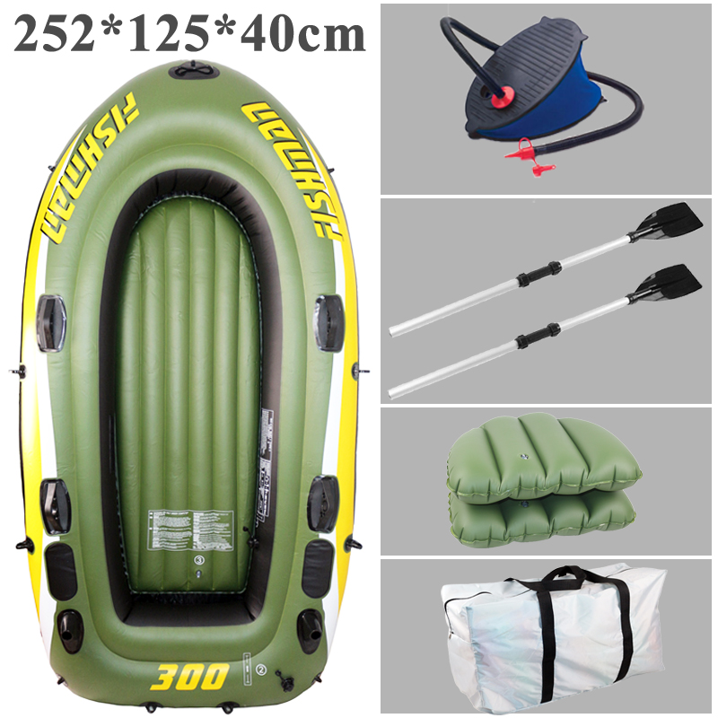 3 person FISHMAN 252*125*40cm inflatable boat fishing boat PVC kayak rowing boat paddle oar pump air seat cushion bag rubber(China (Mainland))