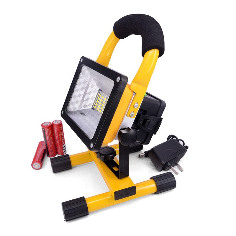 Светодиодный Прожектор 30W 2400lm Сид Перезаряжаемые с батареей Аккумуляторный переносной фонарь желтый LED фара