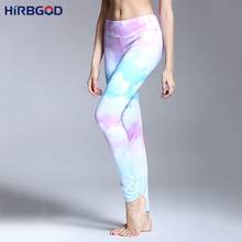 HIRBGOD Hot Sexy Women Yoga Pants Sky And White Clouds Style Running Tights Women Sports Leggings Fitness Yoga Full Length,HT026(China (Mainland))