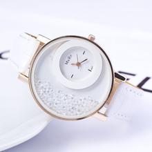 Moving Beads Crystal Quartz watch 2015 New Fashion Luxury Casual Watch Women Dress Watch PU Leather