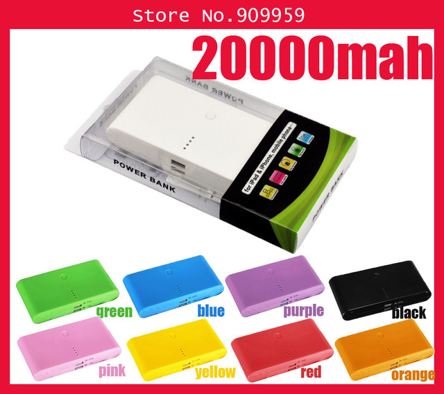 New 20000mAh Universal Power Bank USB Battery Charger External Battery Pack With Retail Box