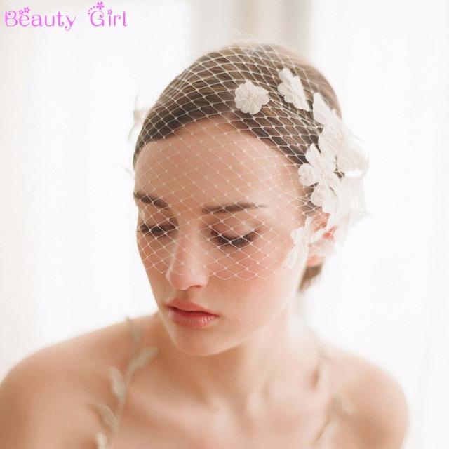 Ручной новый элегантный белый цветок клетка вуаль лица фата невесты румяна вуаль ...