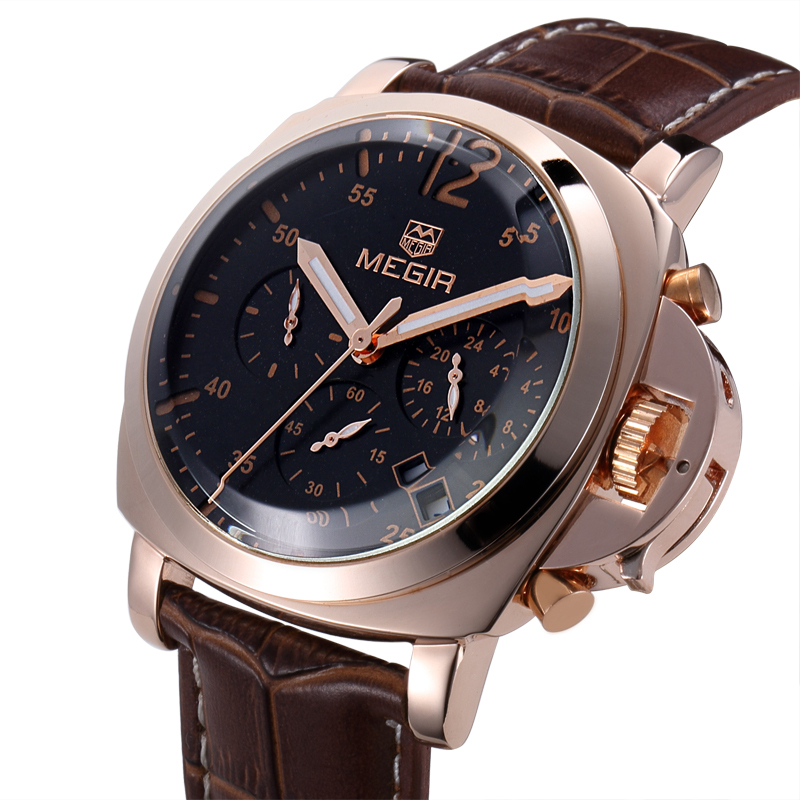 Luxury MEGIR Brand Leather Chronograph 6 Hands 24 Hours Function Men Quartz Watches Men Military Wristwatch