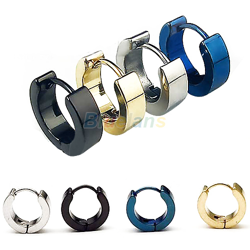 1 Pair Cool Men's Stainless Steel Round Earring Ear Stud 4 Colors Available 1NOD(China (Mainland))