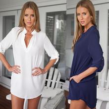 2016 Fashion Women Blouses Casual V-neck Med-Long Chiffon Blouse Woman Long-sleeved Shirts Tops Plus Size S-3XL Free Shipping