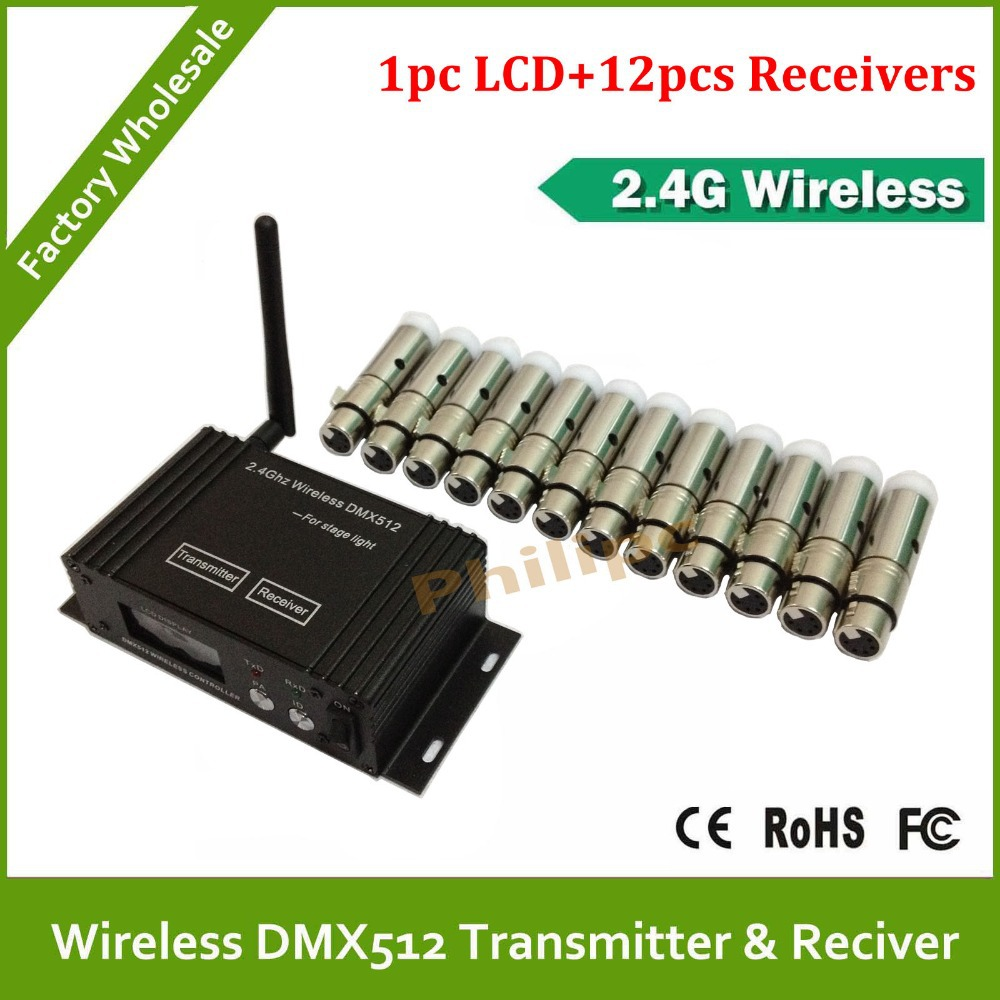 DHL free shipping Wireless DMX LED Lighting Controller 2.4G wireless receptor and transmitter(China (Mainland))