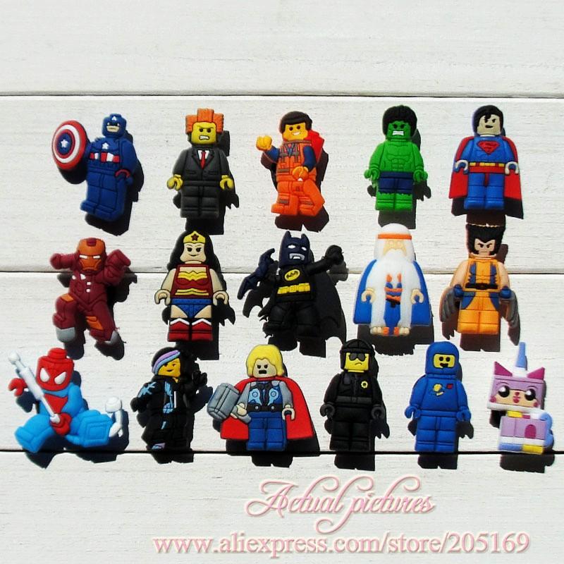 Wholesale 32pcs The Lego Movie PVC Shoe Charms for Bracelets,Kids Gift, Shoe Accessories,Charm Decoration(China (Mainland))