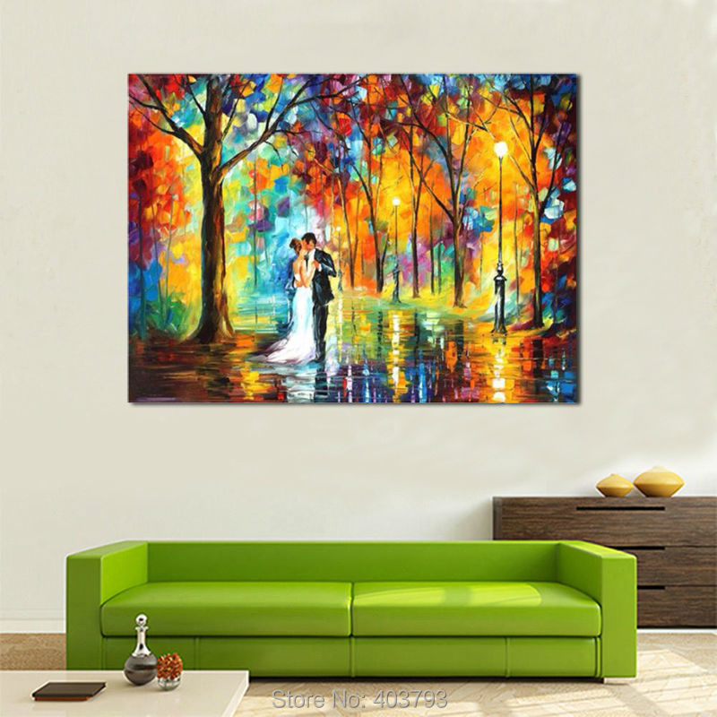Buy 100% Modern abstract palette knife oil painting on the wall art set picture canvas painting romantic love pictures home decor cheap