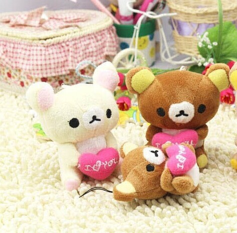 Kawaii 7CM Love Heart Rilakkuma Bear Stuffed TOY ; Phone Charm Strap Lanyard Pendant TOY BAG Key Chain Charm Bouquet TOY DOLL(China (Mainland))