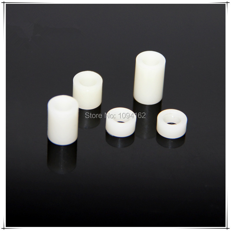 ID3.2mm*OD5mm*8mm M3 ABS White Nylon Round Standoff Spacers Straight Hollow Support Tube For PCB Board