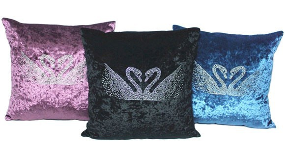 2016 Deluxe Velvet Rhinestone Blue Swans Pillow Case Fashion Sofa Cushion Cover Gift Wedding home decoration