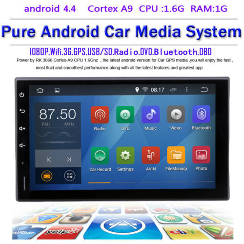 2015 Newest Pure 2 DIN Android 4.4.4 System 3G Wifi Car PC DVD GPS Navigation Stereo Bluetooth Radio FM 1GB DDR3 Universal GPS(China (Mainland))