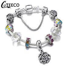 CUTEECO 925 אופנה כסף קסמי צמיד צמיד לנשים קריסטל פרח חרוזים Fit מותג צמידי תכשיטים(China)