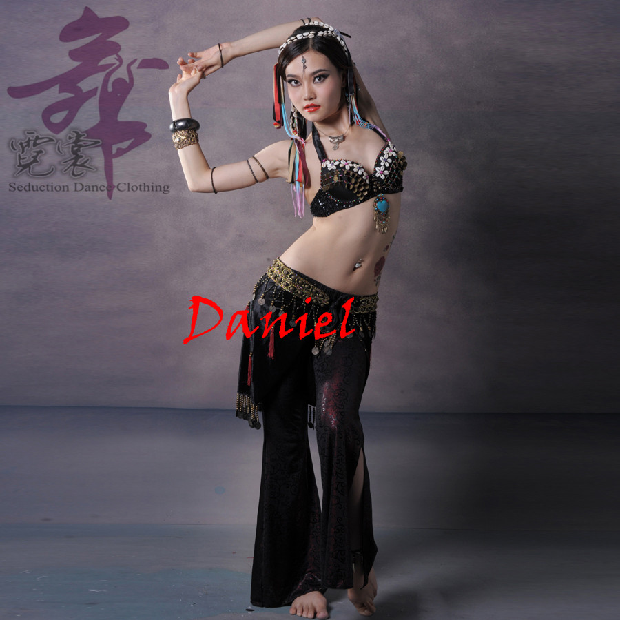 Belly Dance Wear Ethnic Tribal Belly Dance Coin Hip Scarf Belly Dance Tribal Pants Bra and Belt Sets 3-piece Women Costume(China (Mainland))