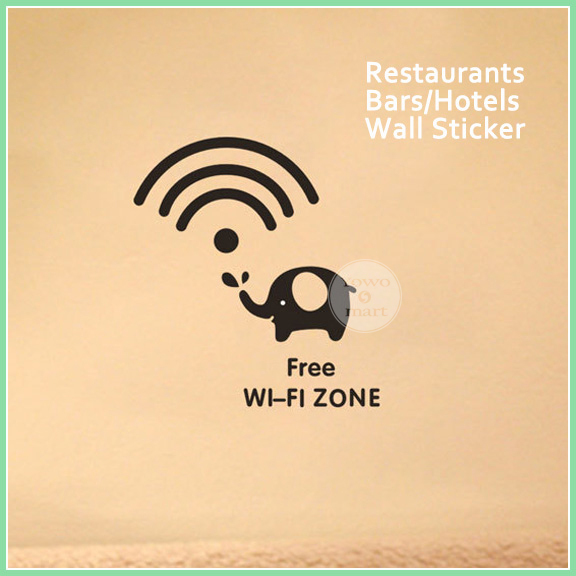 2015 Cute Elephant WiFi Wall Sticker Decal Sign Cafe Restaurant Bar Pub Shop Internet Window Glass Stickers - STOREWORLD store