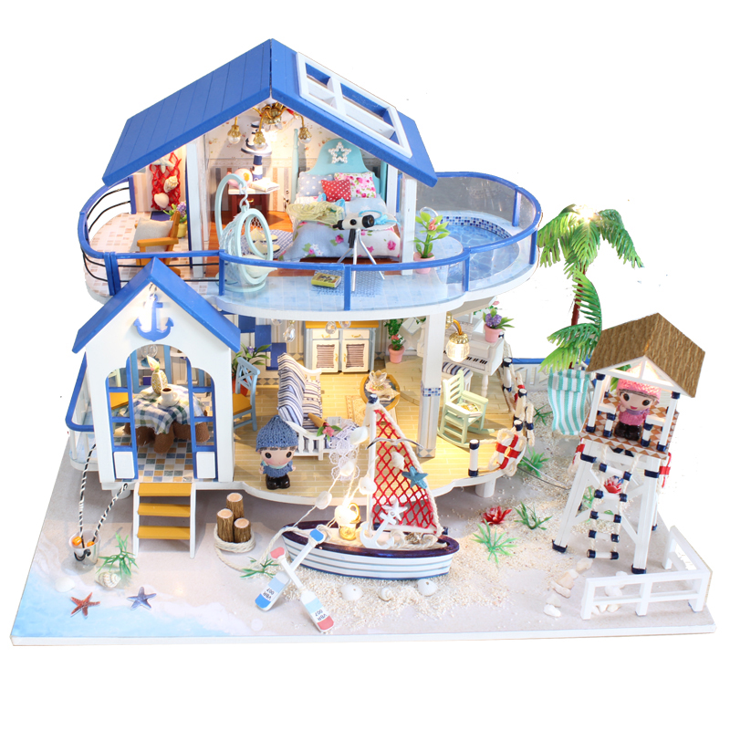 Diy Miniature Wooden Doll House Furniture Kits Toys Handmade Craft Miniature Model Kits DollHouse Toys Gift For Children 13844(China (Mainland))