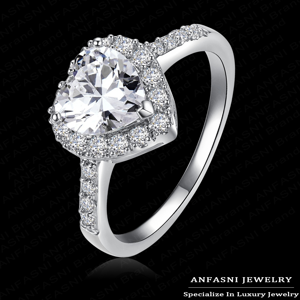 Love Style Sincere Heart Ring Real 18K Gold /Platinum Plated Micro Pave Clear AAA Swiss Cubic Zirconia Promise Ring CRI0004(China (Mainland))