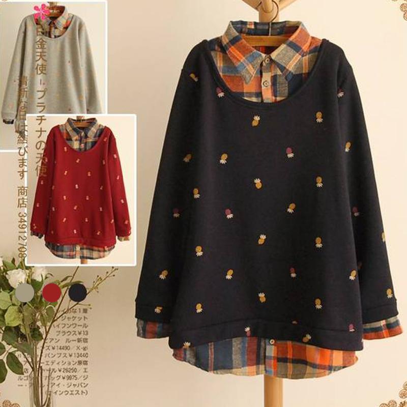 Plus Size Fruit Print Cute Sweatshirts Pullover Design Full Sleeve Turn-down Collar Long Sweatshirts Tracksuit for Women(China (Mainland))