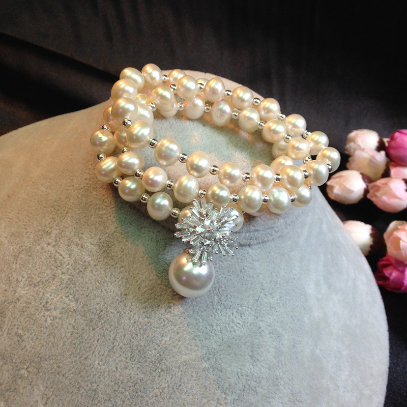 Necklace 925 Sterling Silver Genuine natural pearl snowflake bracelet jewelry wholesale manufacturers one generation(China (Mainland))