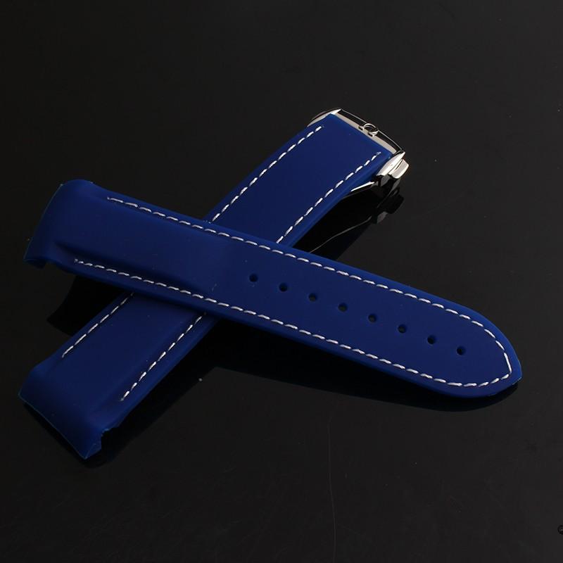 Оранжевый Синий Черный Силиконовой Резины 22 мм ремешок для часов С Белой линии сшитые РЕМНИ Новый горячий специальный тип Серебряной пряжкой