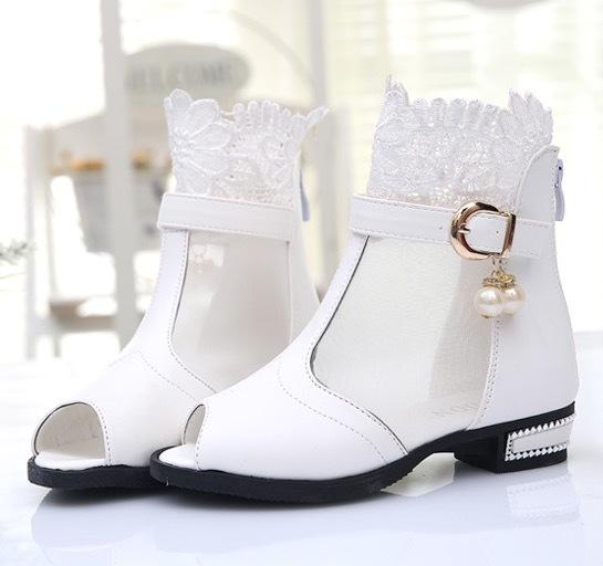 Лето сапоги сандалии обувь для девочки открытый носок один обувь марля сапоги sandale fille кружево принцесса обувь белый черный красный