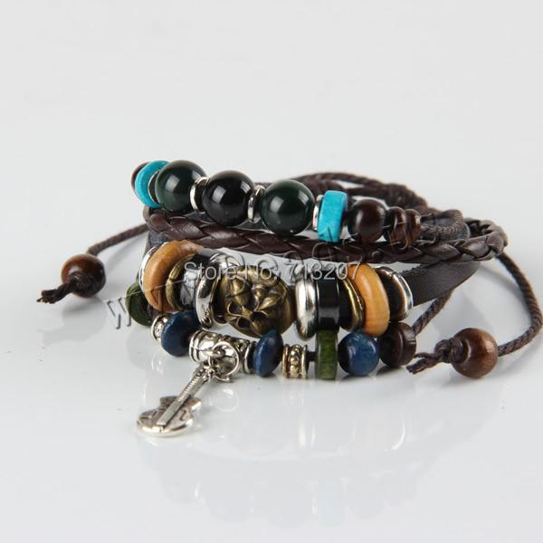 Free shipping!!!Cowhide Bracelet,Wholesale, with Wax Cord &amp; Black Obsidian &amp; Hematite &amp; Wood &amp; Zinc Alloy, plated<br><br>Aliexpress