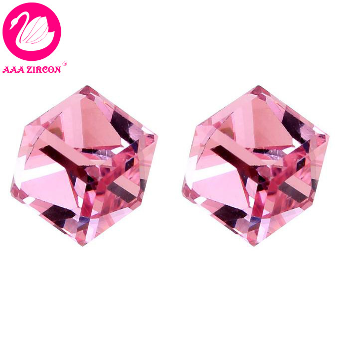 """Free Shipping!!! Women's Pink """"Magic Cube"""" Crystal Earring Made With Swarovski Elements, Come With A Earring Box! (5130)(China (Mainland))"""