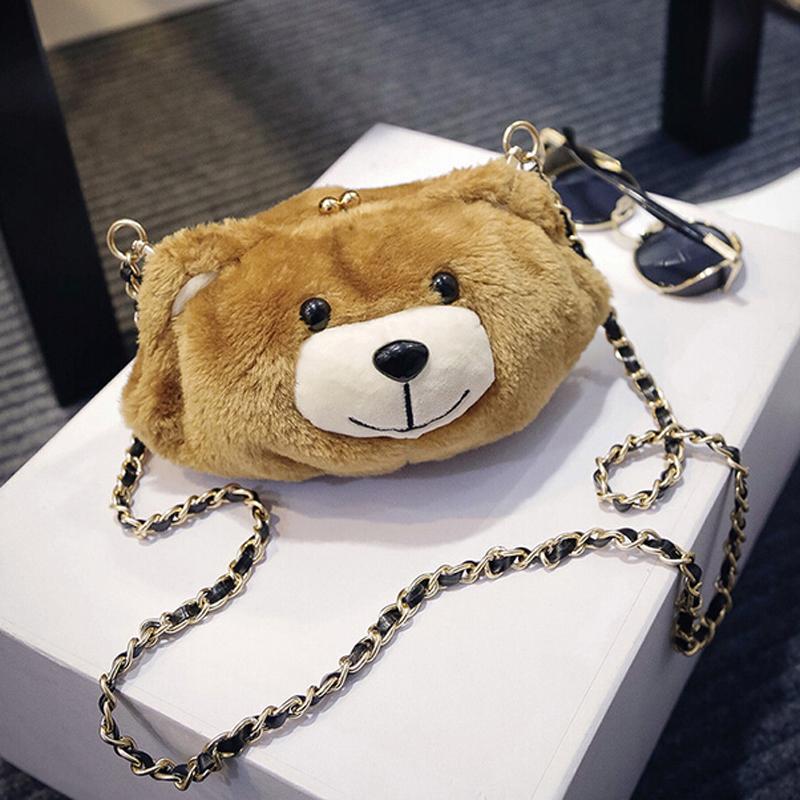 2016 new women bag Plush bear head pack tide Shoulder Bag Messenger Bag Cute Mini chain handbags(China (Mainland))