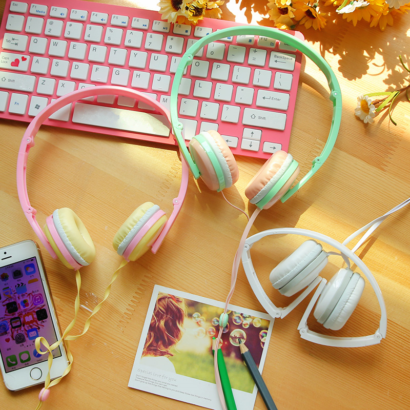 2016 Cute Girls font b Headphones b font Candy Color Foldable Stereo Headset with Microphone Earphone
