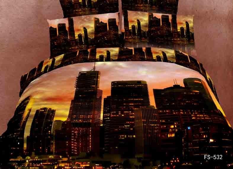 Construction de la ville moderne pittoresque maison hôtel 3d ensemble de literie 100% coton 4 pcs couette/housse de couette drap de lit taie d'oreiller kit Reine/3407(China (Mainland))