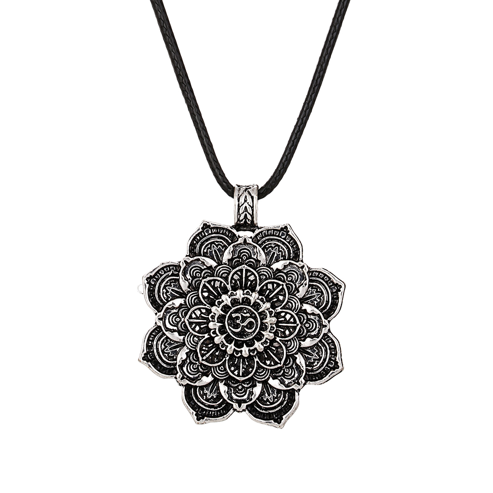 Lotus Flower Mandala Necklace Pendant with Leather Rope Tibetan Buddhist Protection necklace Women Men DIY Jewelry Friendship