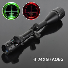 Shooting waterproof Hunting 6-24X50 AOEG Red and Green Dual Optical Sight Rifle Scope with Free Mounts 20mm or 11mm