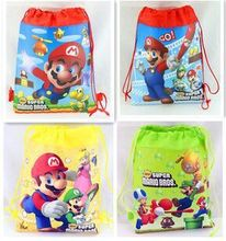 1pcs/lot Super Mario backpack Children Cartoon Drawstring school bags for boys Mixed 4 Designs,Kids Birthday Party Favor F401(China (Mainland))
