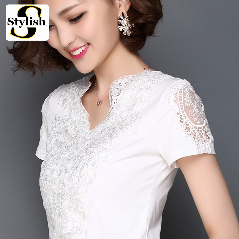 Summer Style Blusa White Lace Cotton Blouse Elegant Women Tops Fashion 2015 S-3XL Plus Size Sexy Hollow Out Shirts Woman Clothes(China (Mainland))
