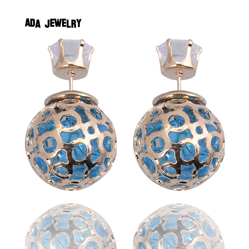 Elegant Unique Fashion Jewelry Hollow Balls Stud Earrings with Crystals Filled Double Side Shining Crystal Earrings for Women(China (Mainland))