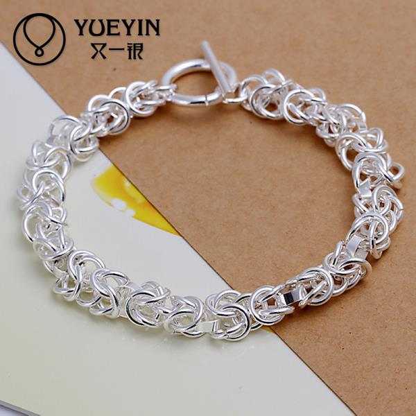h033 new silver plated charm bracelet sterling