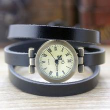 Nova moda hot-selling das mulheres longas de couro Genuíno relógio feminino ROMA relógio de bronze do vintage as mulheres se vestem relógios