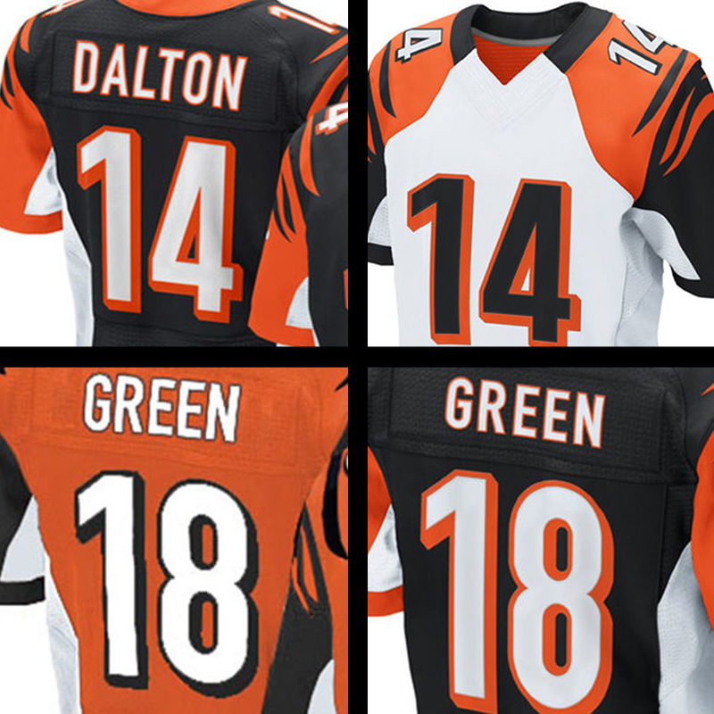 Men's #18 AJ Green #14 Andy Dalton Adult Orange Black Elite 1Embroidery Logos and 100% Stitched Free shipping(China (Mainland))