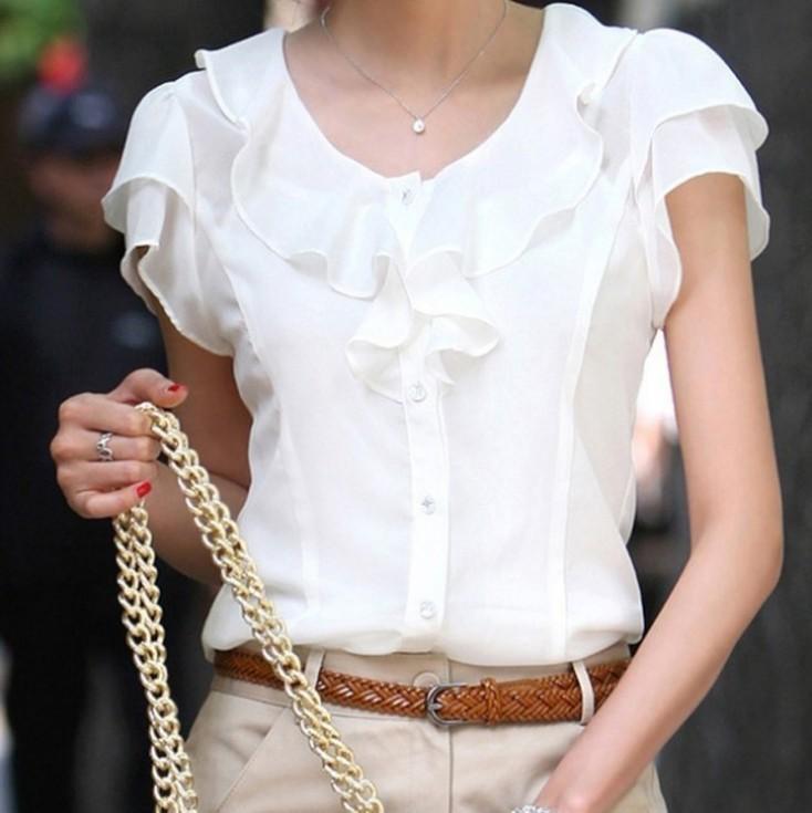 Primavera verano nueva ropa de mujer Casual chica pajarita corto manga de la gasa de la blusa y camisa Office Lady Ruffles Tops formales 5072(China (Mainland))